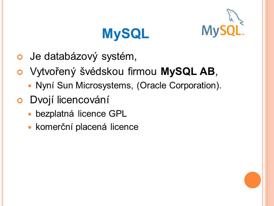 MySQL Je databázový systém, Vytvořený švédskou firmou MySQL AB, Nyní Sun Microsystems, (Oracle Corporation).