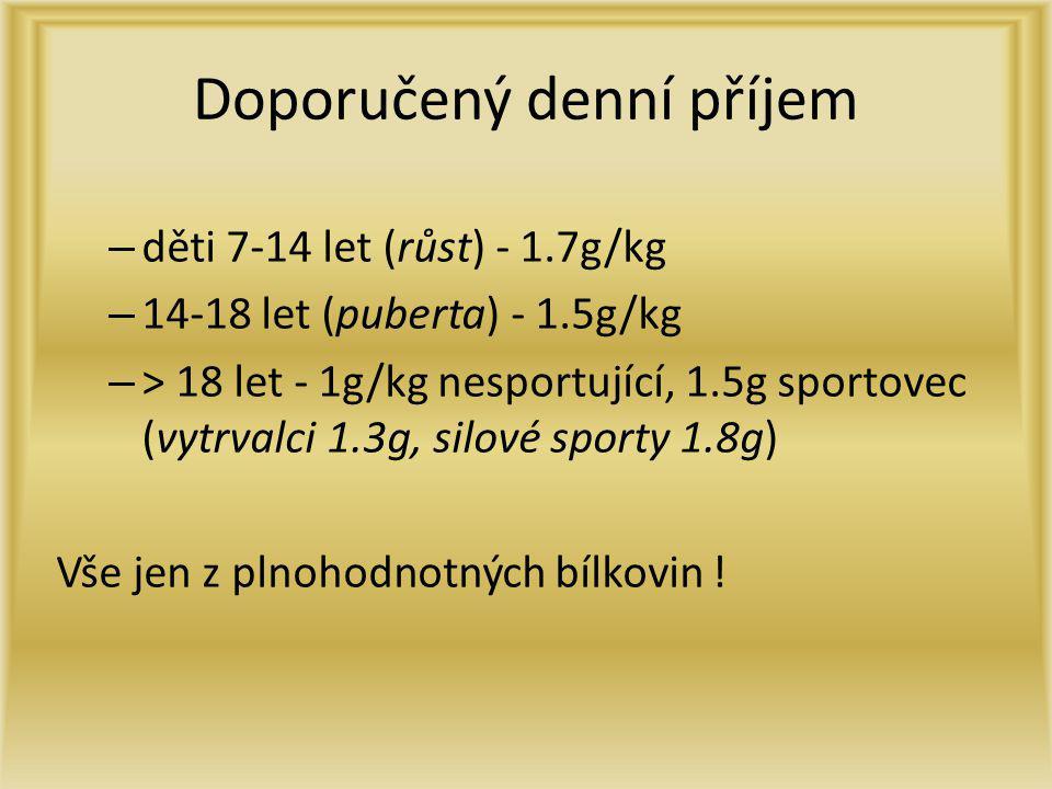 Doporučený denní příjem – děti 7-14 let (růst) - 1.7g/kg – 14-18 let (puberta) - 1.5g/kg – > 18 let - 1g/kg nesportující, 1.5g sportovec (vytrvalci 1.