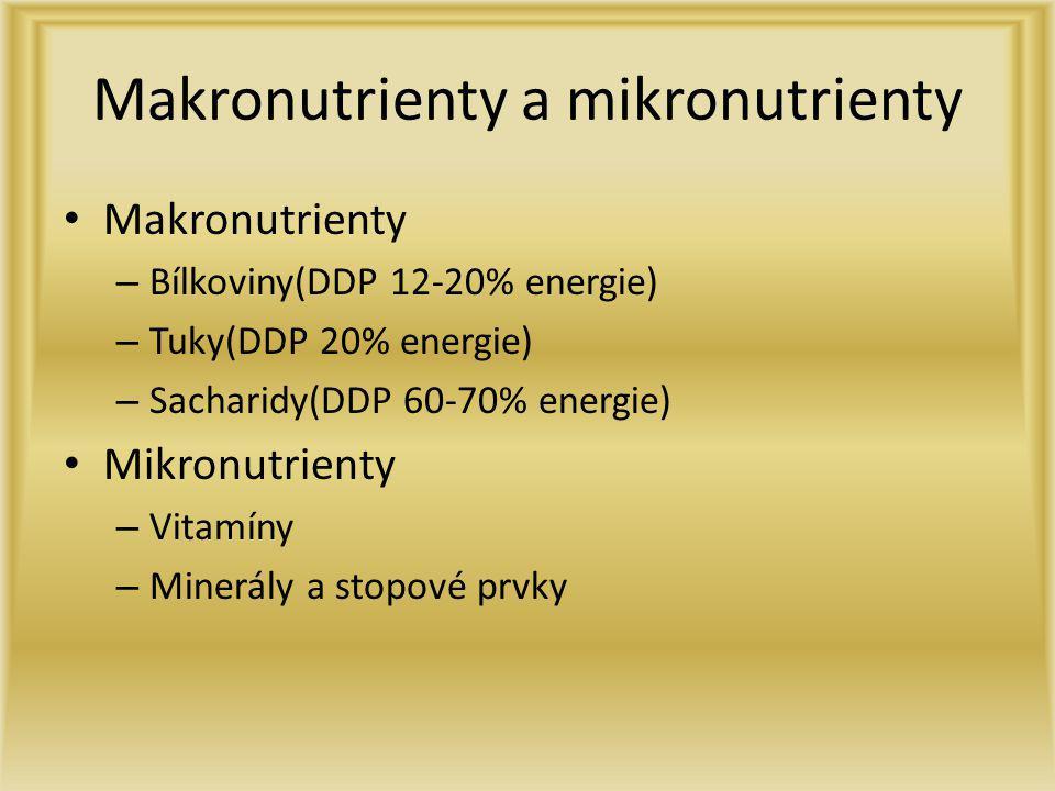 Makronutrienty a mikronutrienty Makronutrienty – Bílkoviny(DDP 12-20% energie) – Tuky(DDP 20% energie) – Sacharidy(DDP 60-70% energie) Mikronutrienty