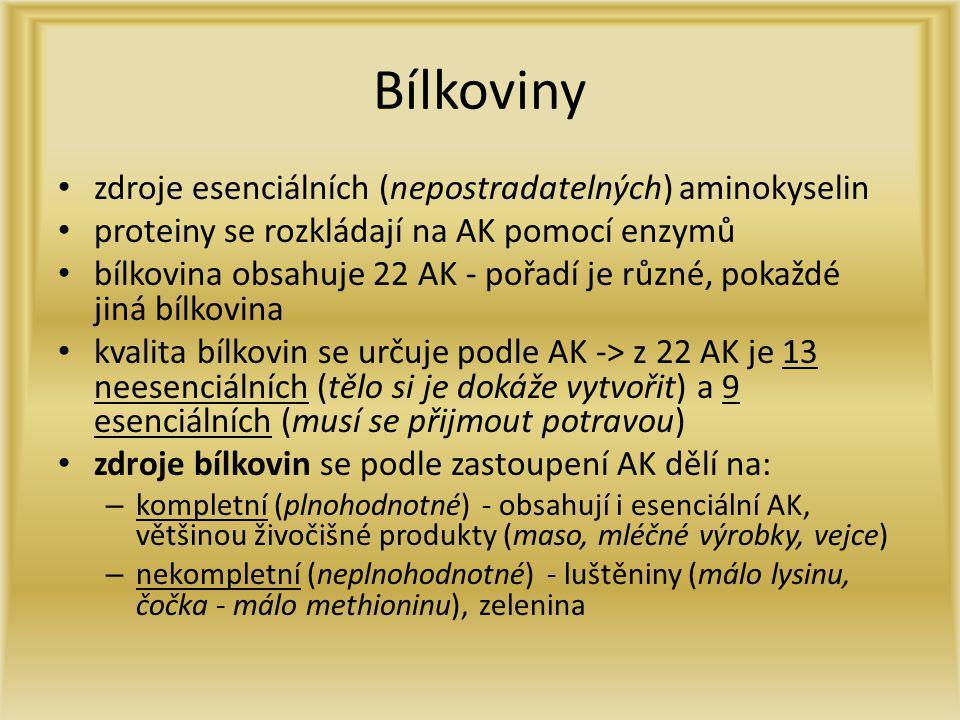 Bílkoviny zdroje esenciálních (nepostradatelných) aminokyselin proteiny se rozkládají na AK pomocí enzymů bílkovina obsahuje 22 AK - pořadí je různé,