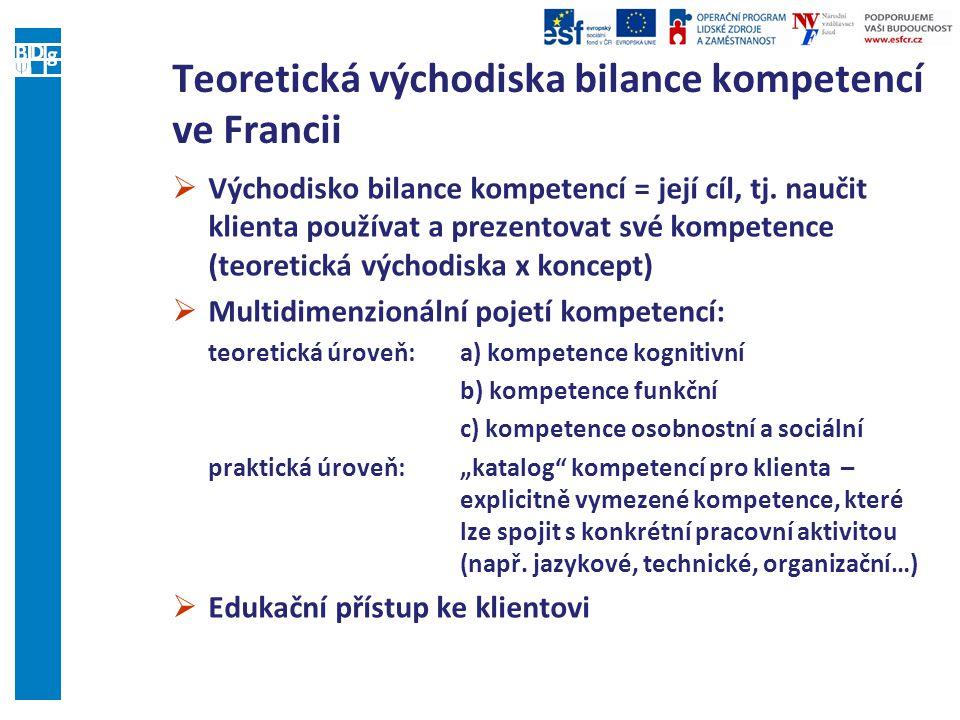 Teoretická východiska bilance kompetencí ve Francii  Východisko bilance kompetencí = její cíl, tj.
