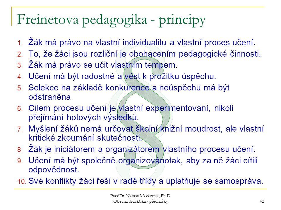 PaedDr.Nataša Mazáčová, Ph.D. Obecná didaktika - přednášky 42 1.