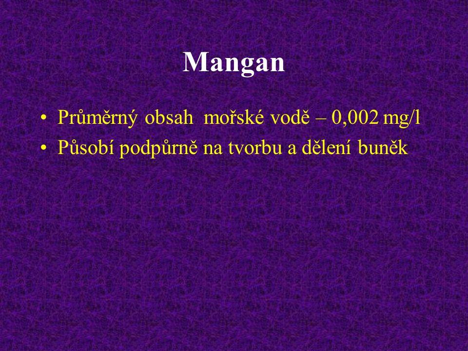 Mangan Průměrný obsah mořské vodě – 0,002 mg/l Působí podpůrně na tvorbu a dělení buněk