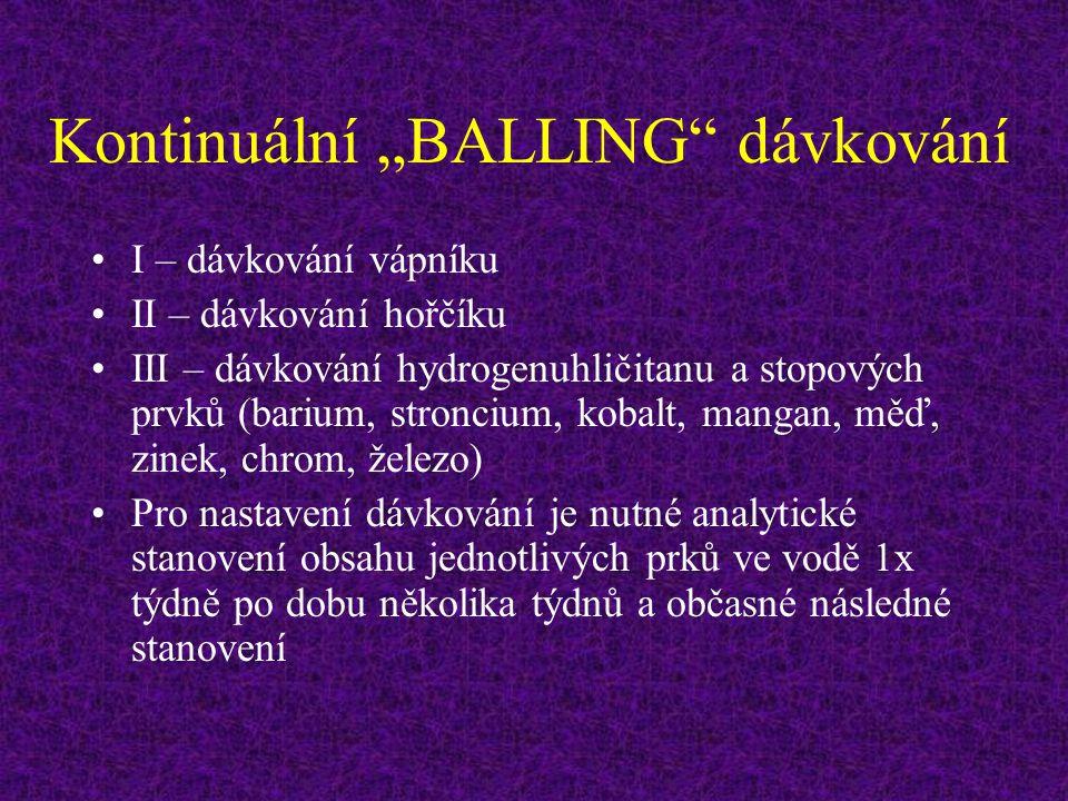 """Kontinuální """"BALLING"""" dávkování I – dávkování vápníku II – dávkování hořčíku III – dávkování hydrogenuhličitanu a stopových prvků (barium, stroncium,"""