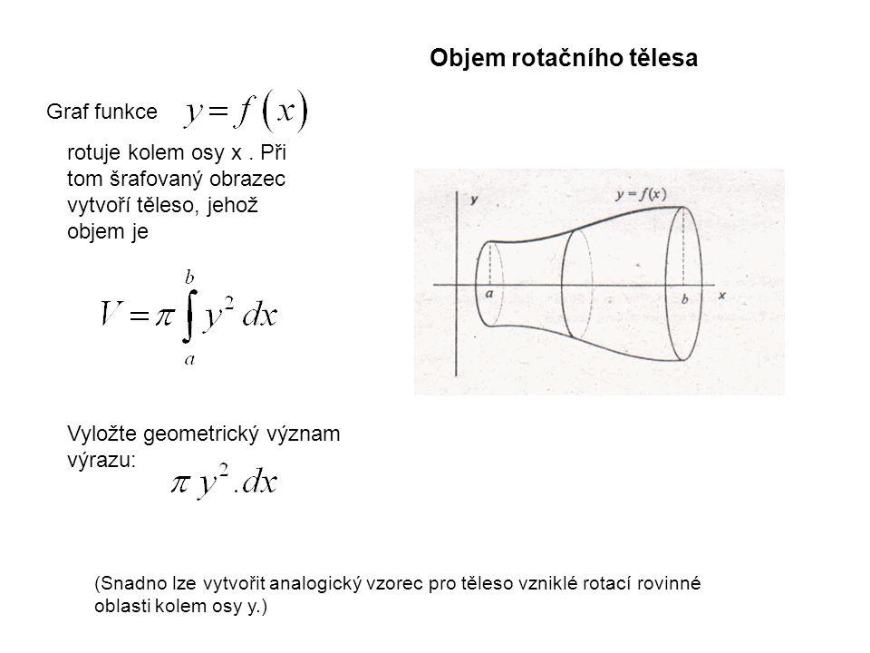 Graf funkce rotuje kolem osy x. Při tom šrafovaný obrazec vytvoří těleso, jehož objem je Vyložte geometrický význam výrazu: (Snadno lze vytvořit analo