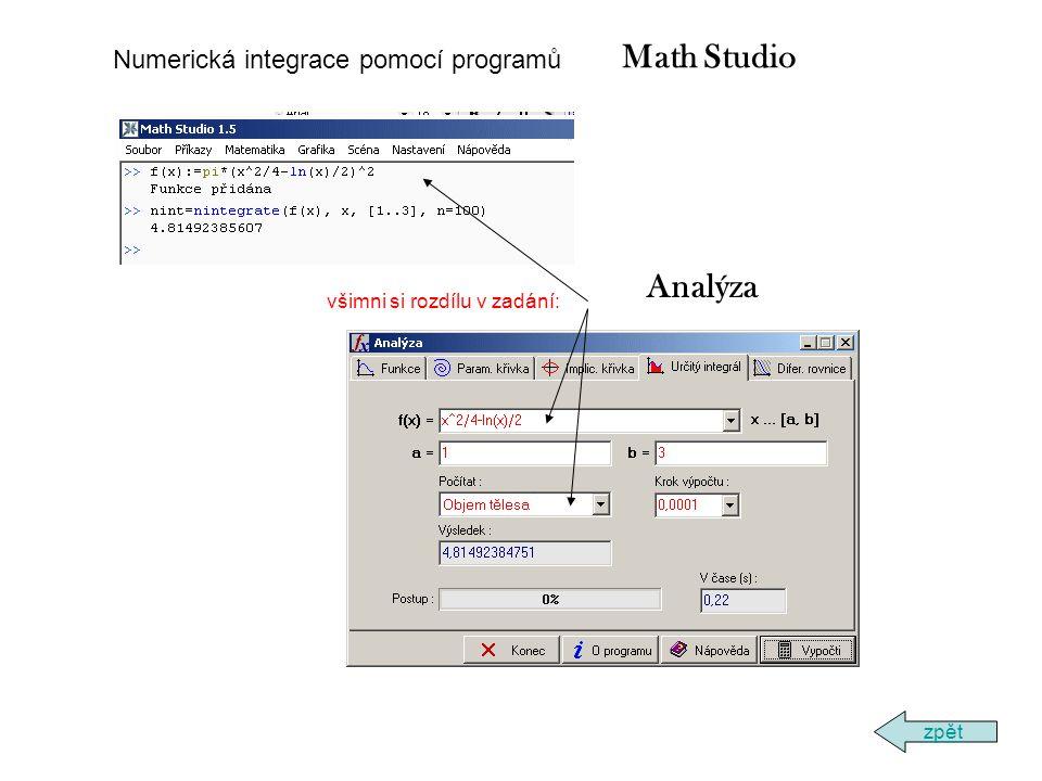 všimni si rozdílu v zadání: zpět Numerická integrace pomocí programů Math Studio Analýza