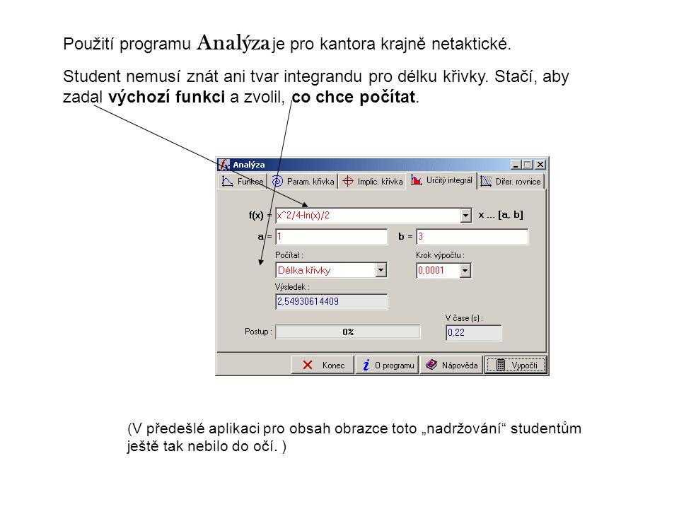 Použití programu Analýza je pro kantora krajně netaktické. Student nemusí znát ani tvar integrandu pro délku křivky. Stačí, aby zadal výchozí funkci a