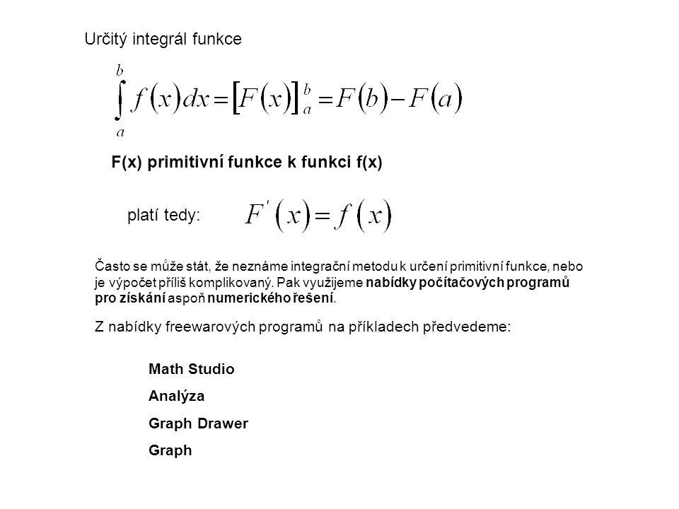 Určitý integrál funkce F(x) primitivní funkce k funkci f(x) platí tedy: Často se může stát, že neznáme integrační metodu k určení primitivní funkce, n