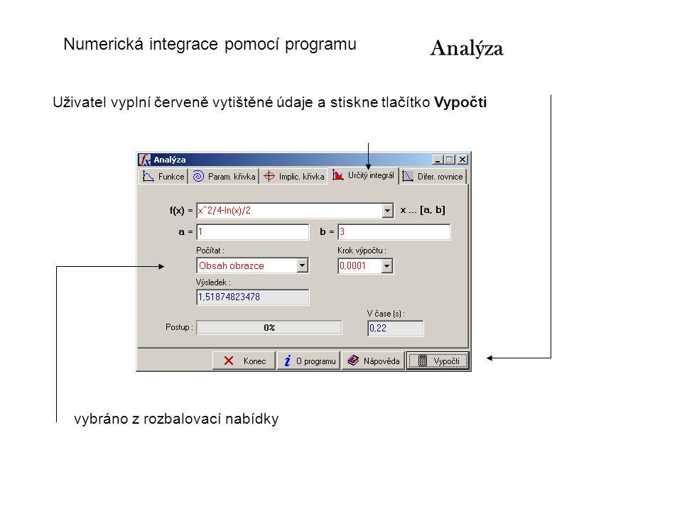 Uživatel vyplní červeně vytištěné údaje a stiskne tlačítko Vypočti vybráno z rozbalovací nabídky Analýza Numerická integrace pomocí programu
