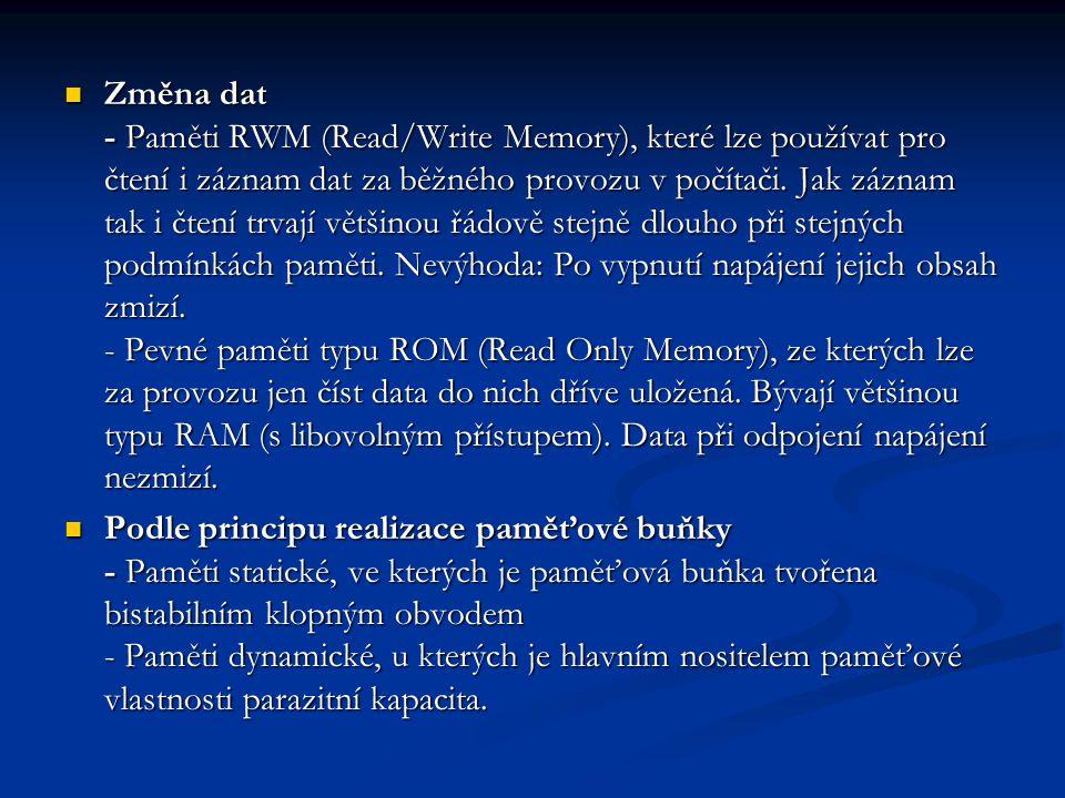 Změna dat - Paměti RWM (Read/Write Memory), které lze používat pro čtení i záznam dat za běžného provozu v počítači.