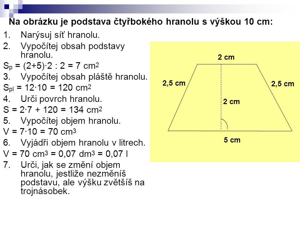 Na obrázku je podstava čtyřbokého hranolu s výškou 10 cm: 1.Narýsuj síť hranolu. 2.Vypočítej obsah podstavy hranolu. S p = (2+5)∙2 : 2 = 7 cm 2 3.Vypo