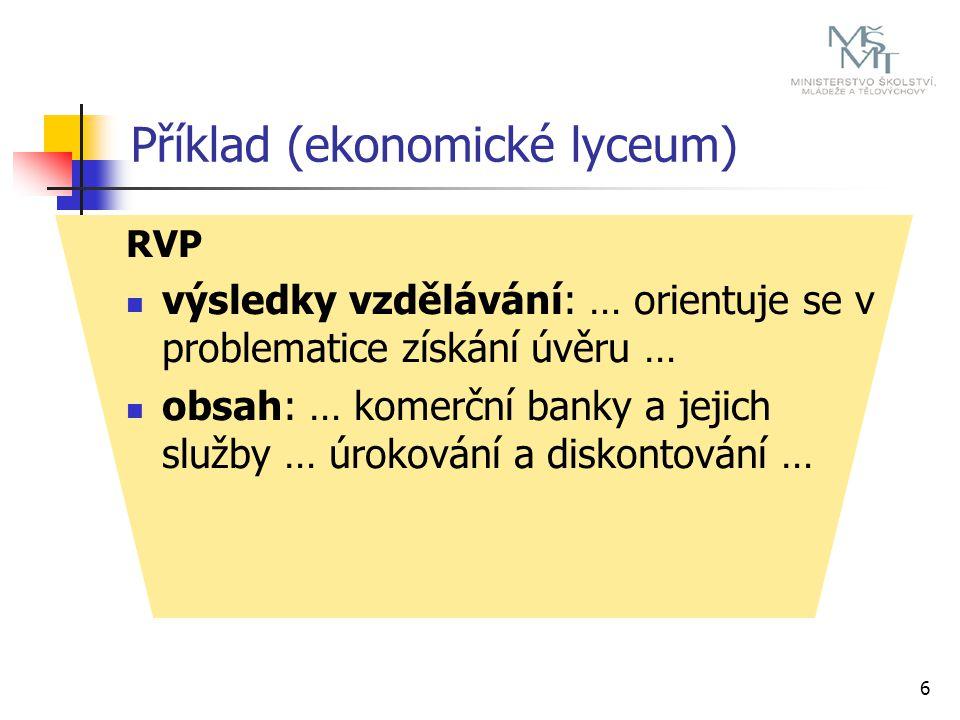 Příklad (ekonomické lyceum) 7 ŠVP učební plán: např.