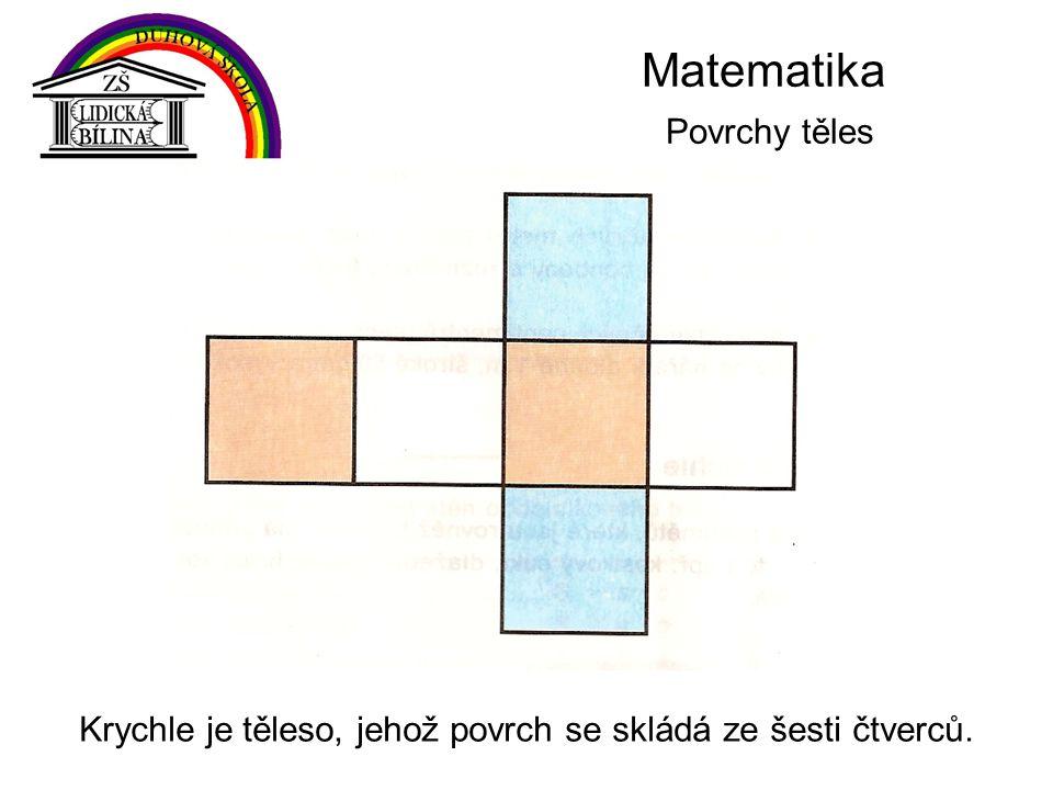 Krychle je těleso, jehož povrch se skládá ze šesti čtverců.
