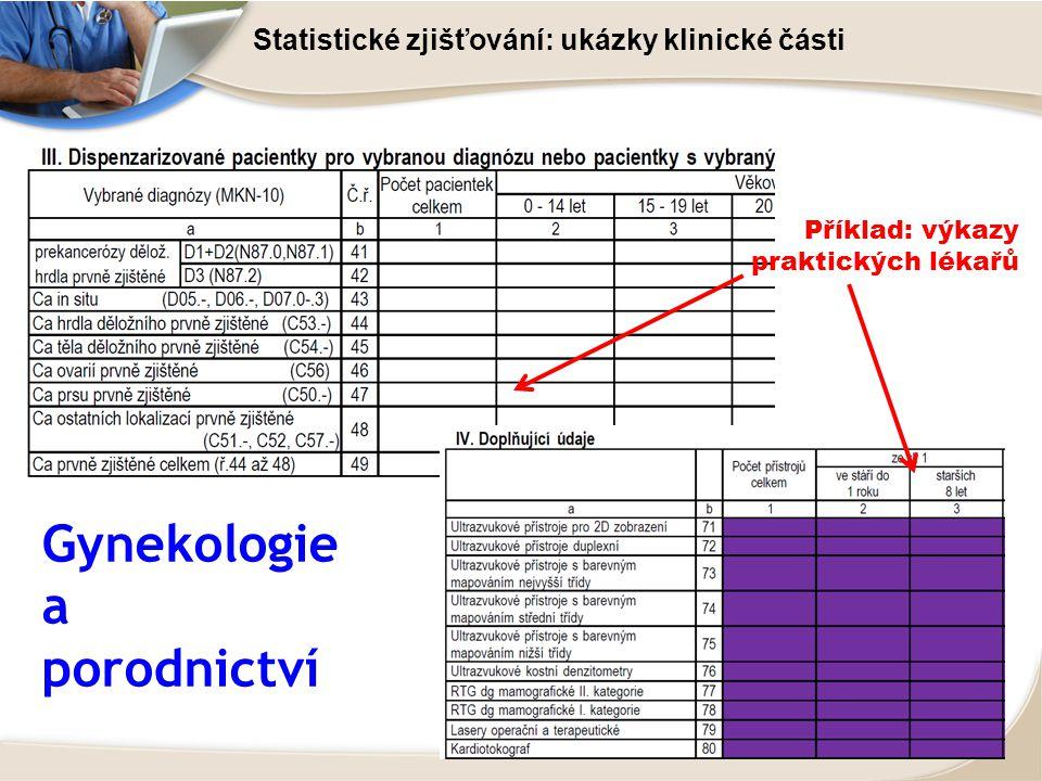 Statistické zjišťování: ukázky klinické části Gynekologie a porodnictví Příklad: výkazy praktických lékařů