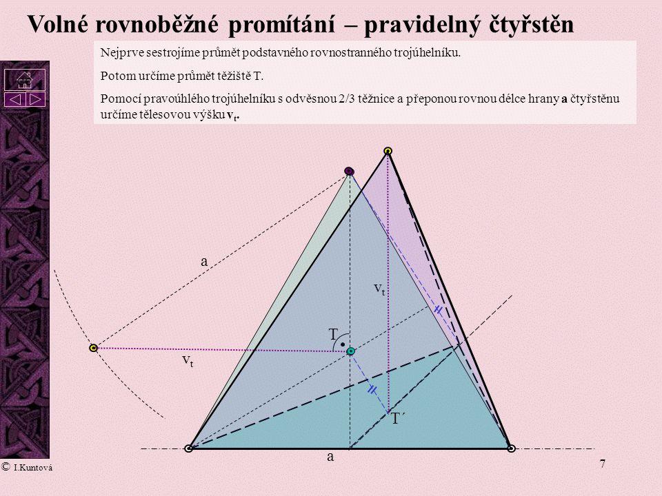 7 Volné rovnoběžné promítání – pravidelný čtyřstěn a a vtvt vtvt Nejprve sestrojíme průmět podstavného rovnostranného trojúhelníku. Potom určíme průmě