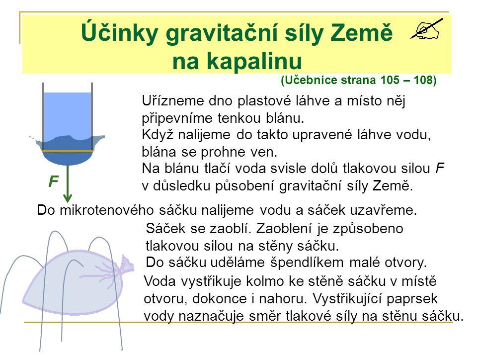 Účinky gravitační síly Země na kapalinu (Učebnice strana 105 – 108) Uřízneme dno plastové láhve a místo něj připevníme tenkou blánu. Když nalijeme do