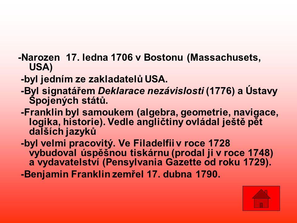 -Narozen 17. ledna 1706 v Bostonu (Massachusets, USA) -byl jedním ze zakladatelů USA. -Byl signatářem Deklarace nezávislosti (1776) a Ústavy Spojených