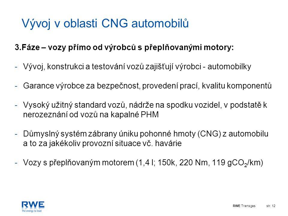 RWE Transgasstr. 12 Vývoj v oblasti CNG automobilů 3.Fáze – vozy přímo od výrobců s přeplňovanými motory: -Vývoj, konstrukci a testování vozů zajišťuj