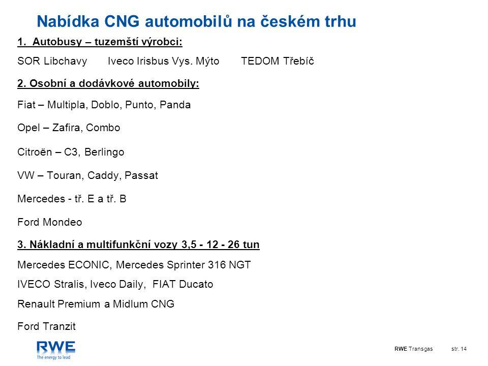 RWE Transgasstr. 14 Nabídka CNG automobilů na českém trhu 1. Autobusy – tuzemští výrobci: SOR Libchavy Iveco Irisbus Vys. Mýto TEDOM Třebíč 2. Osobní