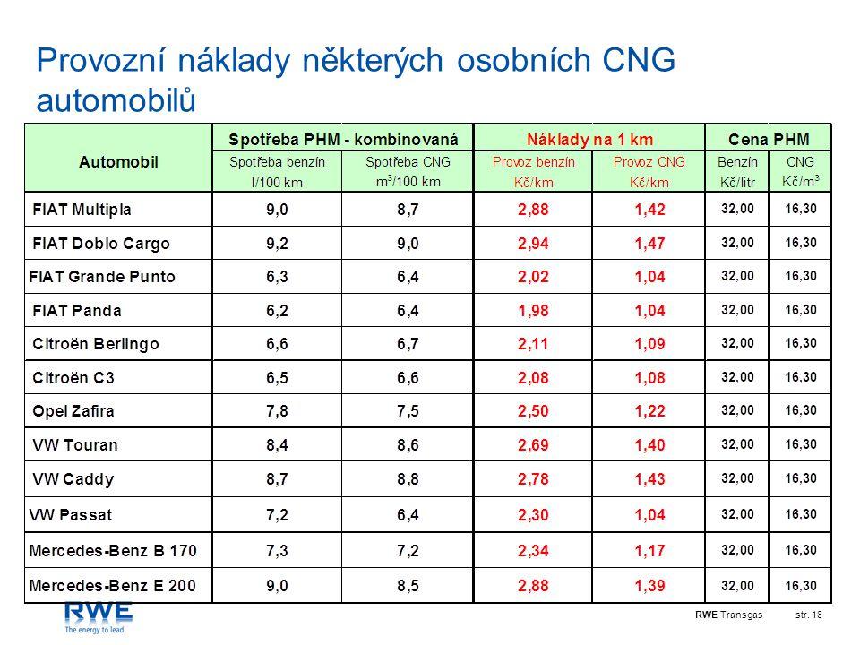 RWE Transgasstr. 18 Provozní náklady některých osobních CNG automobilů