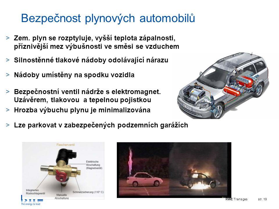 RWE Transgasstr. 19 Bezpečnost plynových automobilů >Zem. plyn se rozptyluje, vyšší teplota zápalnosti, příznivější mez výbušnosti ve směsi se vzduche