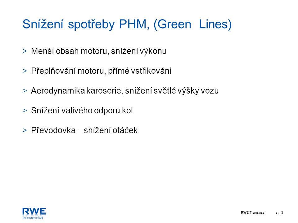 RWE Transgasstr. 3 Snížení spotřeby PHM, (Green Lines) >Menší obsah motoru, snížení výkonu >Přeplňování motoru, přímé vstřikování >Aerodynamika karose