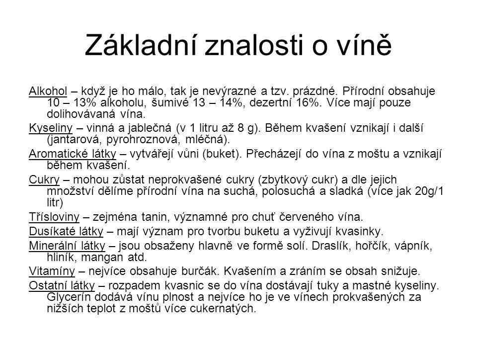 Základní znalosti o víně Alkohol – když je ho málo, tak je nevýrazné a tzv. prázdné. Přírodní obsahuje 10 – 13% alkoholu, šumivé 13 – 14%, dezertní 16