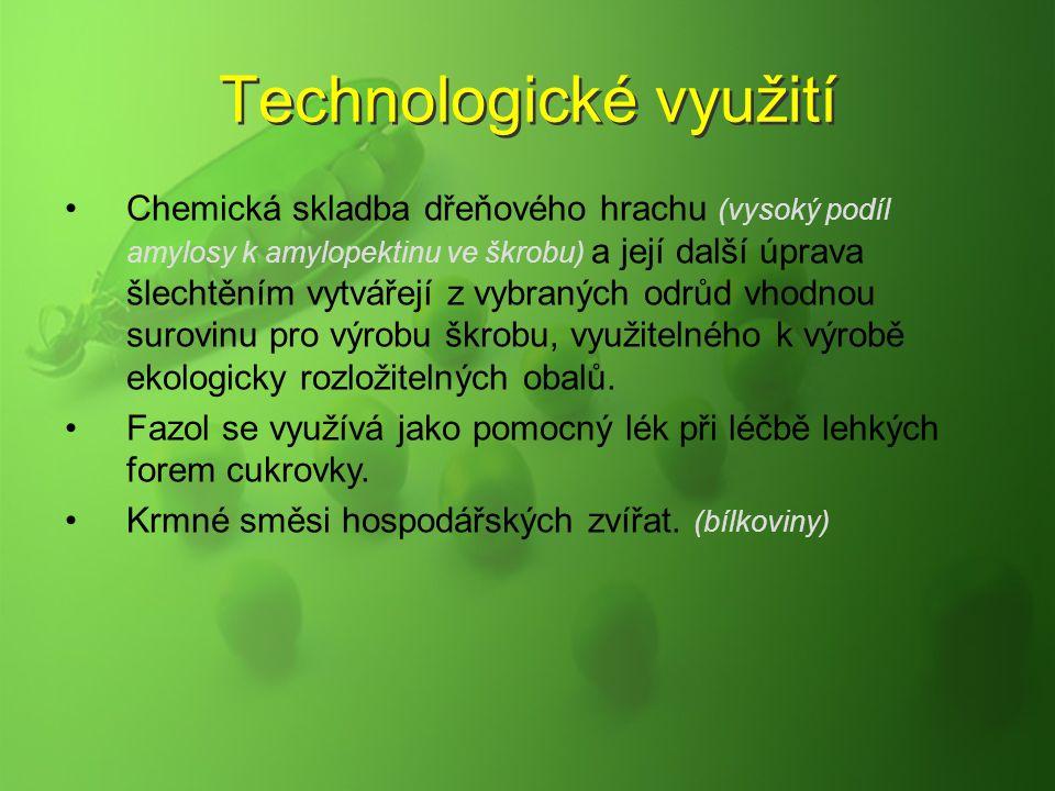 Technologické využití Chemická skladba dřeňového hrachu (vysoký podíl amylosy k amylopektinu ve škrobu) a její další úprava šlechtěním vytvářejí z vyb