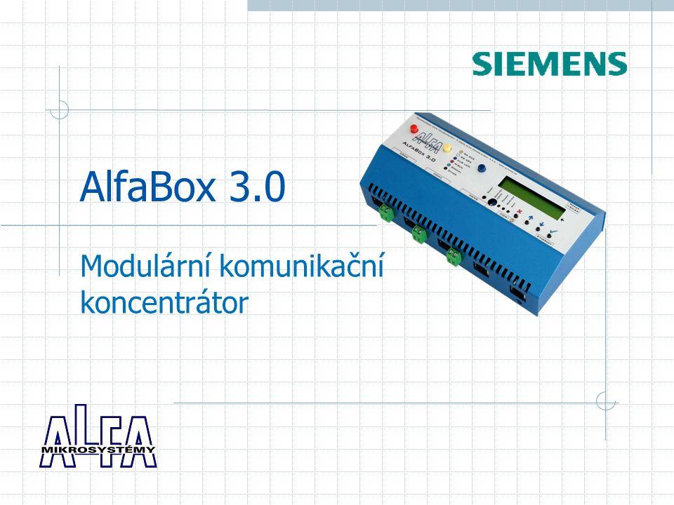 květen 2006Copyright © 2005 - 2006 ALFA Mikrosystémy, s.r.o.2 AlfaBox 3.0: výkonný a modulární nová verze komunikačního převodníku navazuje na úspěšné verze ALFA 485 a ALFA 485.1 výkonný počítač na bázi Windows CE s modulární konstrukcí doplněný o diagnostický displej až 5 komunikačních rozhraní (z toho tři jako rozšiřující moduly)