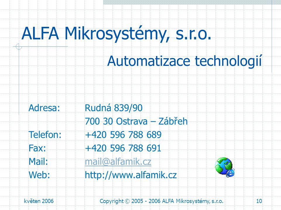 květen 2006Copyright © 2005 - 2006 ALFA Mikrosystémy, s.r.o.10 ALFA Mikrosystémy, s.r.o. Adresa: Rudná 839/90 700 30 Ostrava – Zábřeh Telefon: +420 59