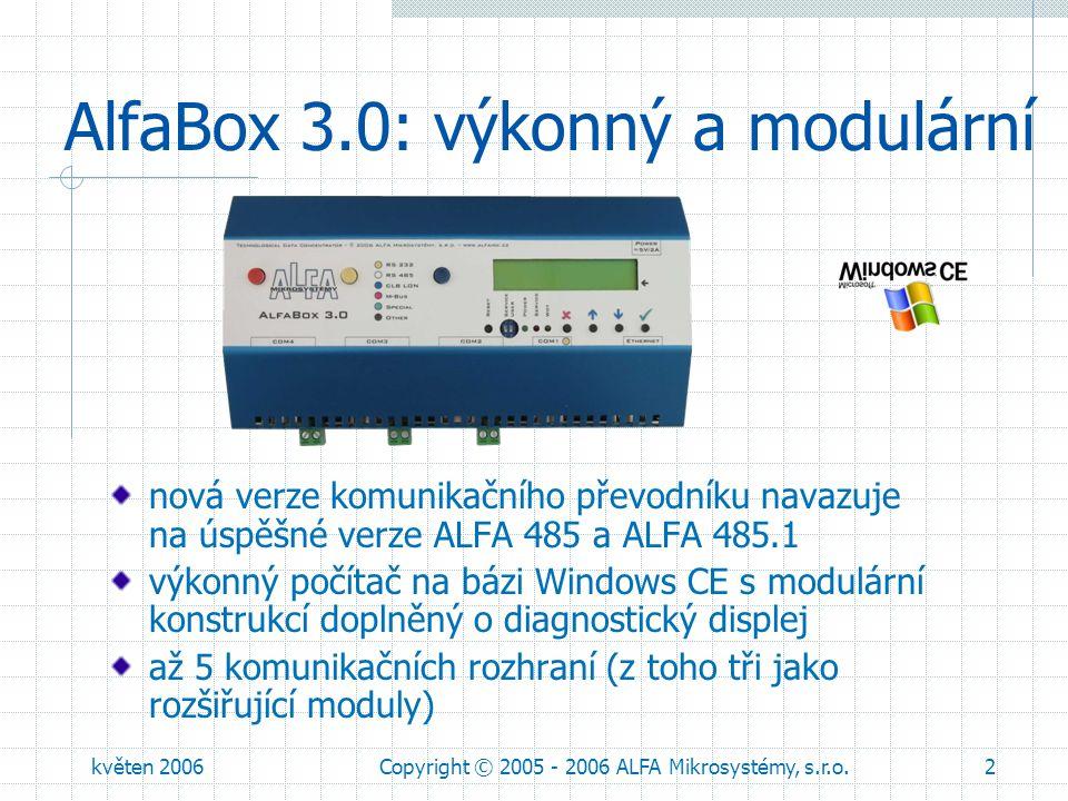 květen 2006Copyright © 2005 - 2006 ALFA Mikrosystémy, s.r.o.3 Komunikační rozhraní standardní verze je osazena jedním servisním kanálem typu RS232 rozhraní Ethernet je součástí verze AlfaBox.Eth rozšiřující moduly (až tři do jednoho AlfaBoxu) jsou barevně značeny a indikovány na předním panelu modul RS232 pro modemy a regulátory LON pro Desigo™ PX – dvojnásobná velikost – do COM2 (!) galvanicky oddělený RS485G pro sběrnice a větší vzdálenosti modul M-Bus master pro připojení až 3 měřičů bez galv.