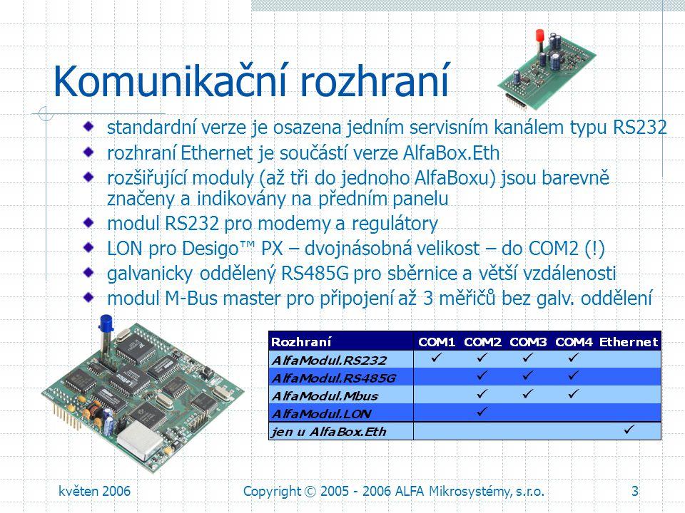 květen 2006Copyright © 2005 - 2006 ALFA Mikrosystémy, s.r.o.4 Obsah dodávky, objednávka Rozšiřující moduly (až tři do jednoho AlfaBoxu) – objednávat zvlášť: AlfaModul.RS232 – bez oddělení AlfaModul.LON AlfaModul.RS485G – s oddělením AlfaModul.MBus - pro připojení až 3 měřičů bez galv.