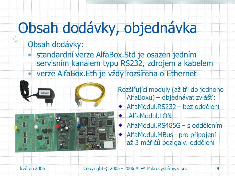květen 2006Copyright © 2005 - 2006 ALFA Mikrosystémy, s.r.o.5 Komunikační prostředky podpora standardních telefonních modemů GSM, GPRS a EDGE modemy firmy Siemens radiomodemy Satel a NaM LON sběrnice Ethernet 10 Mbit pro připojení k LAN a Internetu sběrnice RS485 pro větší vzdálenosti rozhraní M-Bus pro lokální měřiče; pro větší počet zařízení EB 401 podporované standardní protokoly BACnet, LON, Modbus RTU, M-Bus
