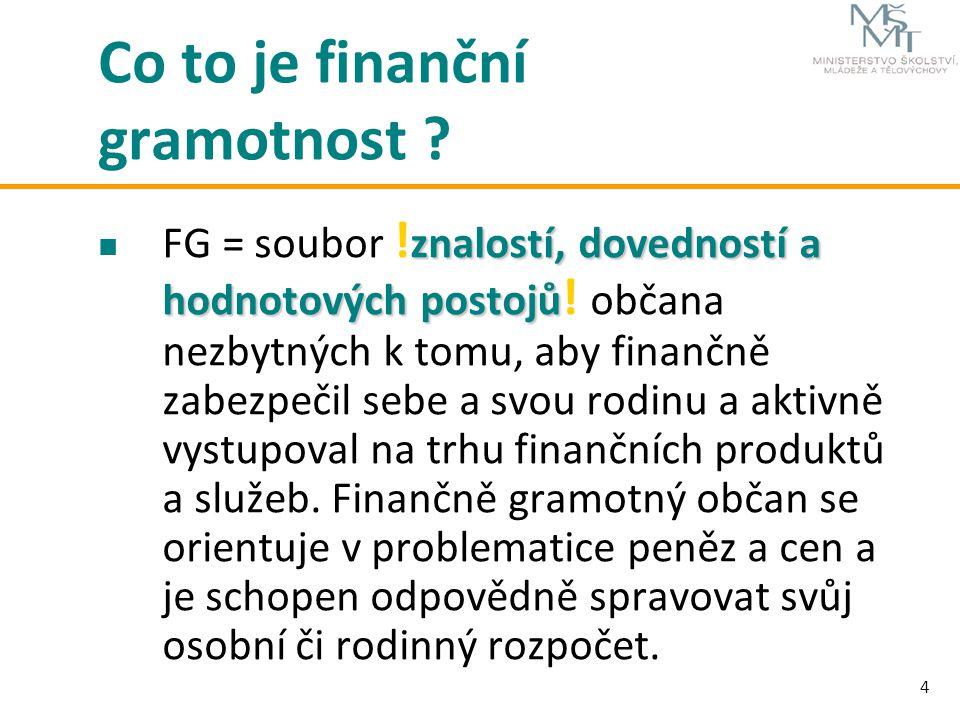 4 Co to je finanční gramotnost ? znalostí, dovedností a hodnotových postojů FG = soubor ! znalostí, dovedností a hodnotových postojů ! občana nezbytný
