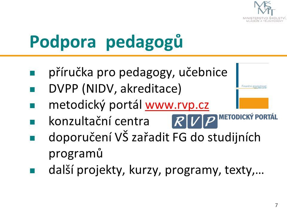 7 Podpora pedagogů příručka pro pedagogy, učebnice DVPP (NIDV, akreditace) metodický portál www.rvp.czwww.rvp.cz konzultační centra doporučení VŠ zařa