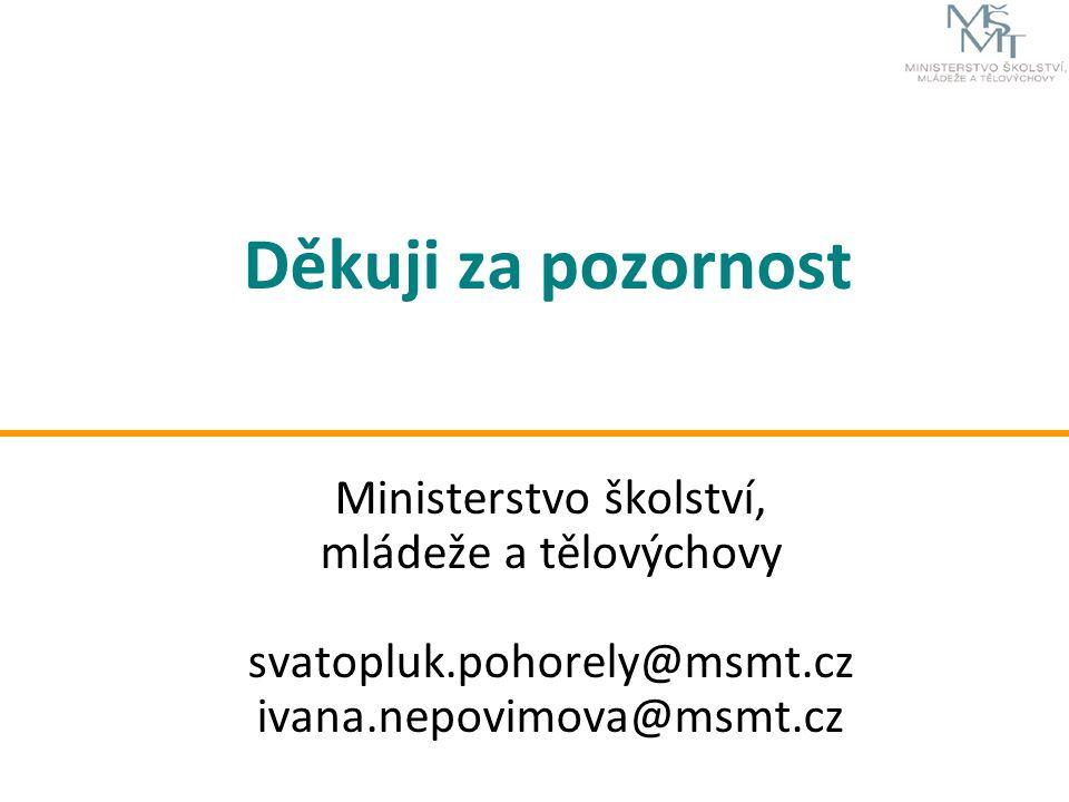 Děkuji za pozornost Ministerstvo školství, mládeže a tělovýchovy svatopluk.pohorely@msmt.cz ivana.nepovimova@msmt.cz