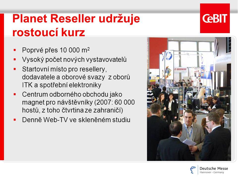 Planet Reseller udržuje rostoucí kurz  Poprvé přes 10 000 m 2  Vysoký počet nových vystavovatelů  Startovní místo pro resellery, dodavatele a oborové svazy z oborů ITK a spotřební elektroniky  Centrum odborného obchodu jako magnet pro návštěvníky (2007: 60 000 hostů, z toho čtvrtina ze zahraničí)  Denně Web-TV ve skleněném studiu