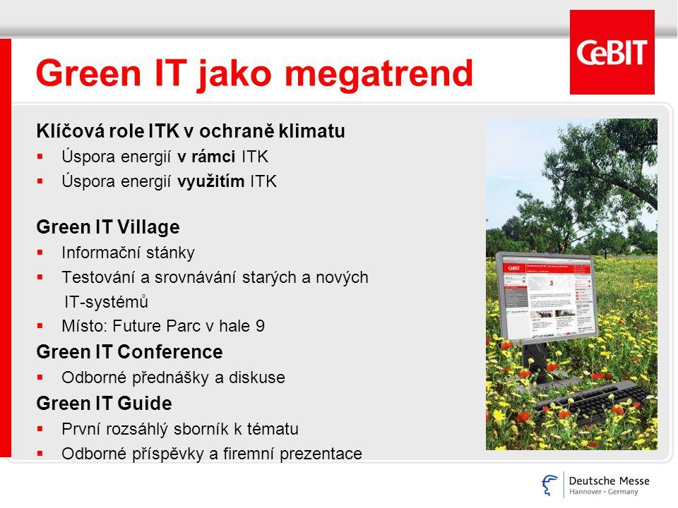 Green IT jako megatrend Klíčová role ITK v ochraně klimatu  Úspora energií v rámci ITK  Úspora energií využitím ITK Green IT Village  Informační st