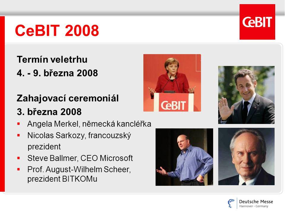 CeBIT 2008 Termín veletrhu 4. - 9. března 2008 Zahajovací ceremoniál 3. března 2008  Angela Merkel, německá kancléřka  Nicolas Sarkozy, francouzský