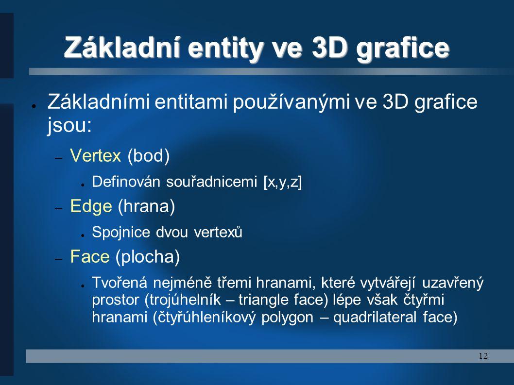 12 Základní entity ve 3D grafice ● Základními entitami používanými ve 3D grafice jsou: – Vertex (bod) ● Definován souřadnicemi [x,y,z] – Edge (hrana)