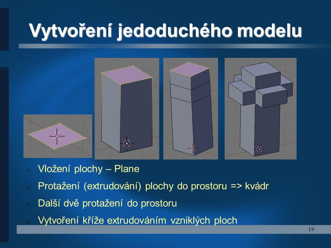 19 Vytvoření jedoduchého modelu 1) Vložení plochy – Plane 2) Protažení (extrudování) plochy do prostoru => kvádr 3) Další dvě protažení do prostoru 4)