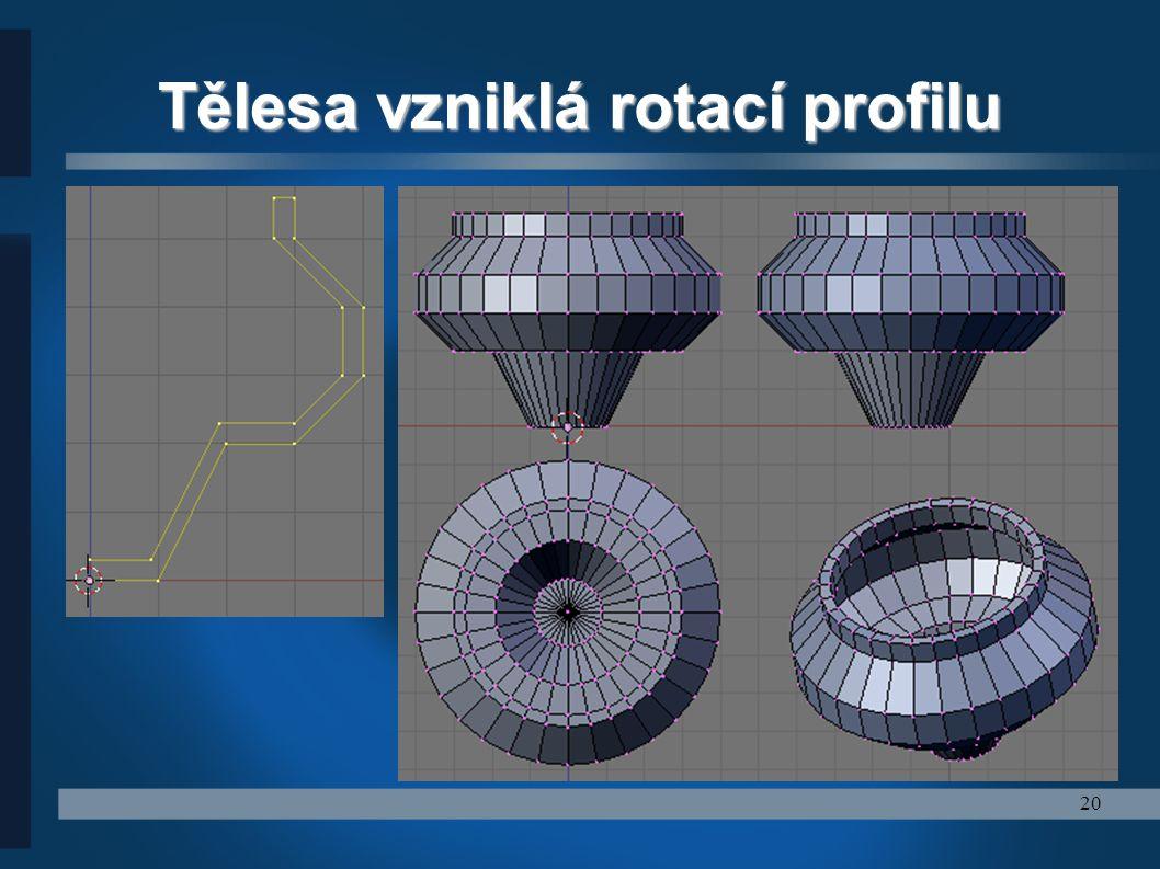 20 Tělesa vzniklá rotací profilu