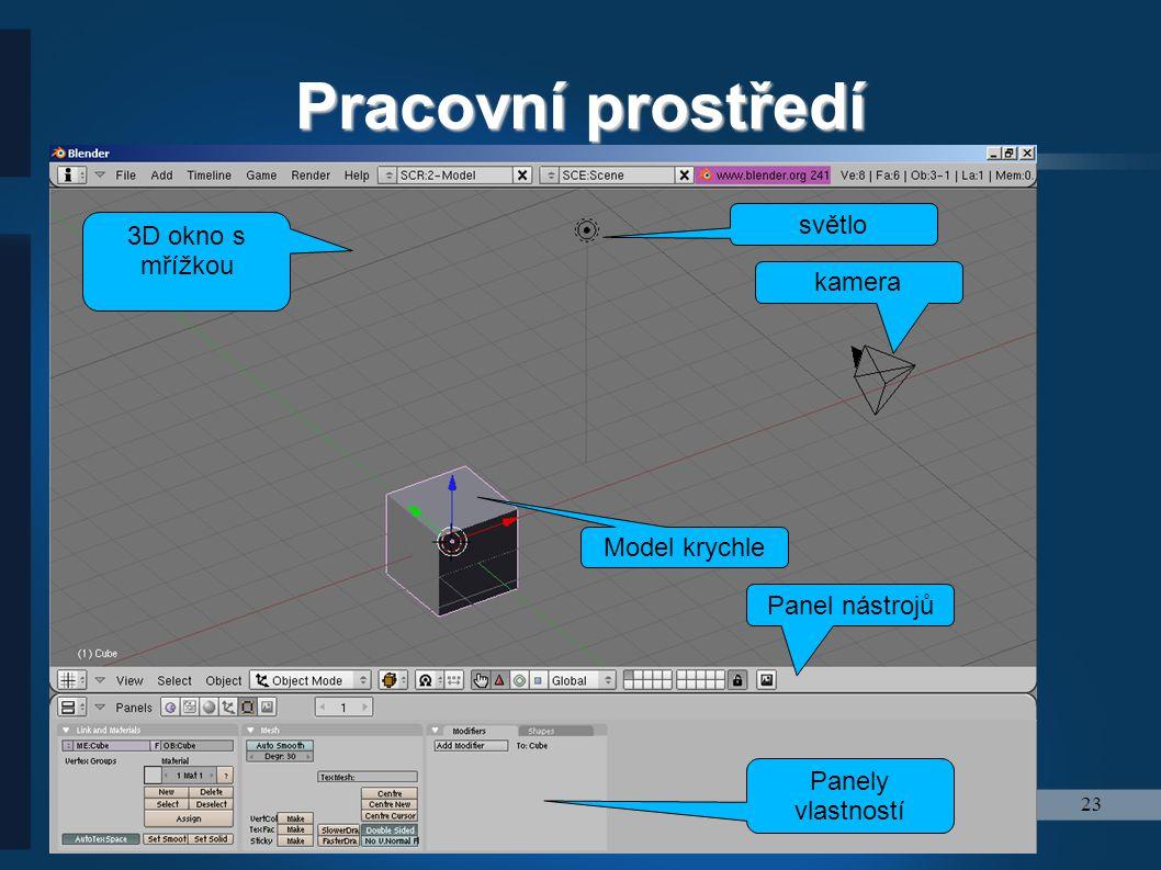23 Pracovní prostředí 3D okno s mřížkou světlo kamera Model krychle Panel nástrojů Panely vlastností