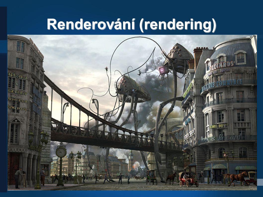 24 Renderování (rendering) ● Rendering je tvorba reálného obrazu na základě počítačového modelu, nejčastěji 3D.3D ● Rendering obsahuje v závislosti na