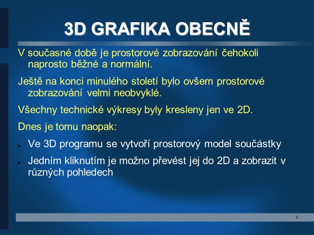 4 3D GRAFIKA OBECNĚ V současné době je prostorové zobrazování čehokoli naprosto běžné a normální. Ještě na konci minulého století bylo ovšem prostorov