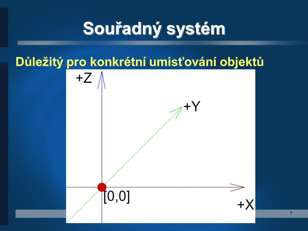 7 Souřadný systém Důležitý pro konkrétní umisťování objektů