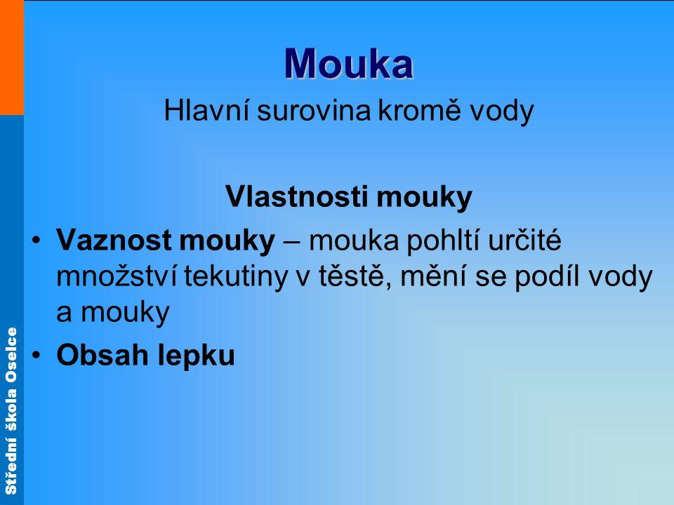 Střední škola Oselce Mouka Obsah lepku Ideální je mouka se středním obsahem lepku (28% mokrého lepku – to je asi 9,3% suchého lepku).
