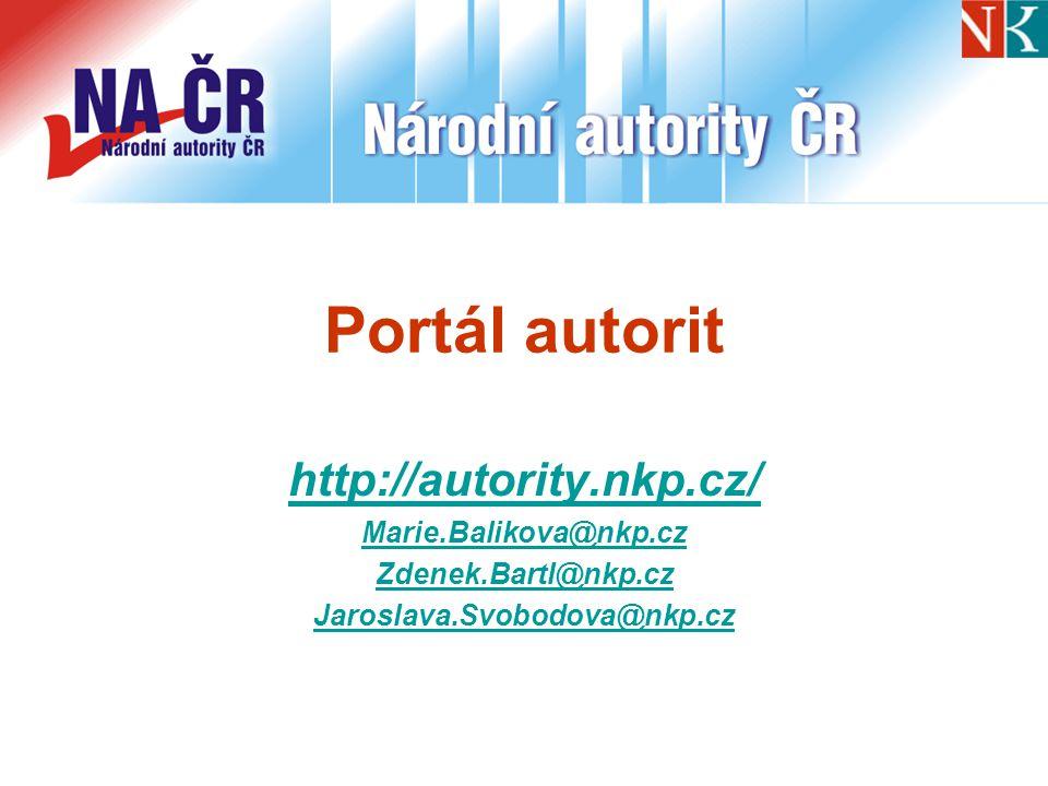 Portál autorit http://autority.nkp.cz/ Marie.Balikova@nkp.cz Zdenek.Bartl@nkp.cz Jaroslava.Svobodova@nkp.cz