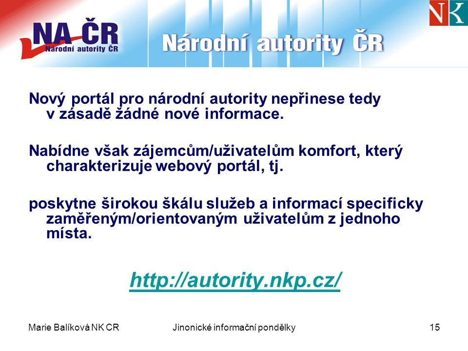 Marie Balíková NK CRJinonické informační pondělky15 Nový portál pro národní autority nepřinese tedy v zásadě žádné nové informace.