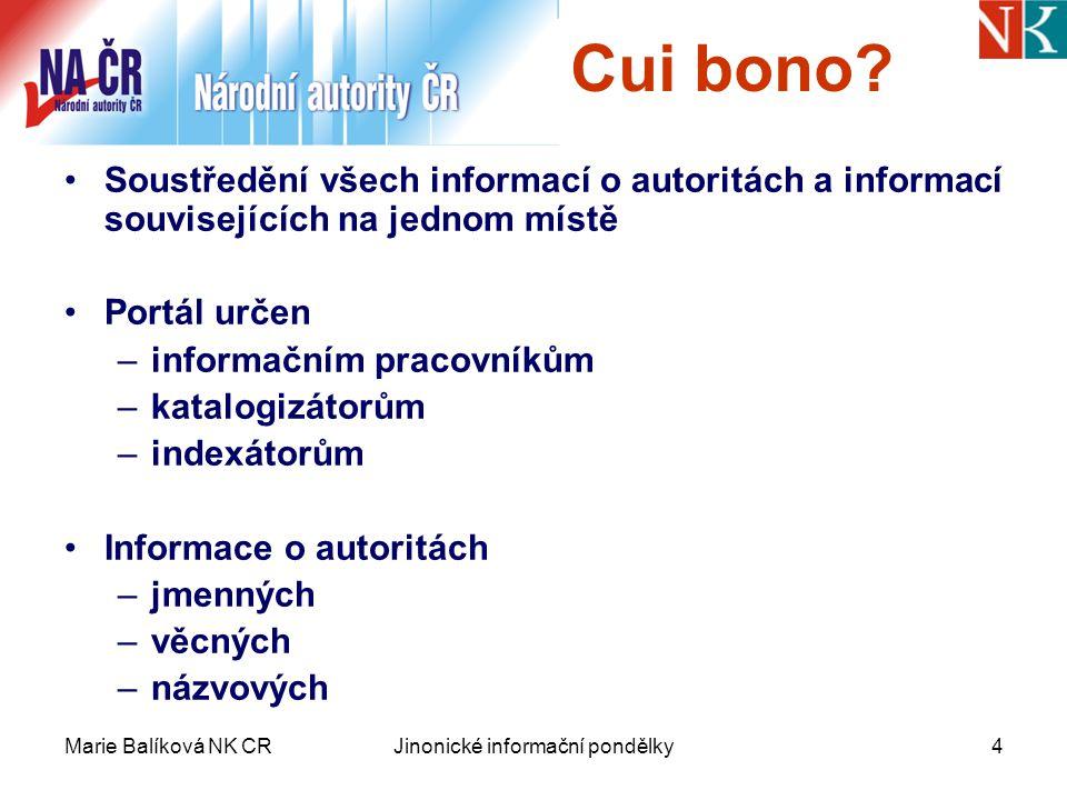 Marie Balíková NK CRJinonické informační pondělky4 Cui bono.